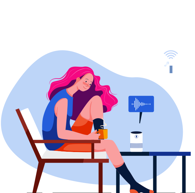 Girl having coffee and using Alexa