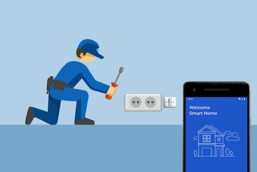 Electrician fixing Smart Home automation